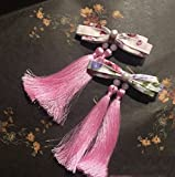 TKHNE Ancient Chinese clothing sister silk flower hair soft Meng anime ribbon hairpin side clip hair accessories fringed accessories