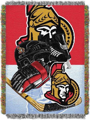 Officially Licensed NHL Ottawa Senators Homefield Ice Advantage Woven Tapestry Throw Blanket, 48' x 60'