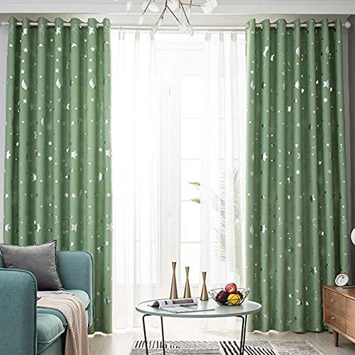 Green Kids Privacy Curtain Moon Star Thermal Drape