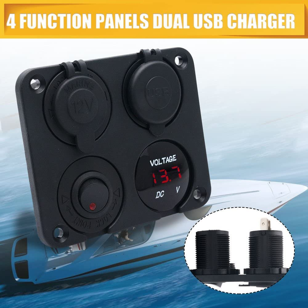 LED Voltmeter MASO Dual USB Socket Charger 2.1A/&2.1A Blue 12V Power Outlet ON-Off Toggle Switch 4 in 1 Multi-Function Panel for Truck Trailer Camper Motorhome Marine Car Boat Mobiles