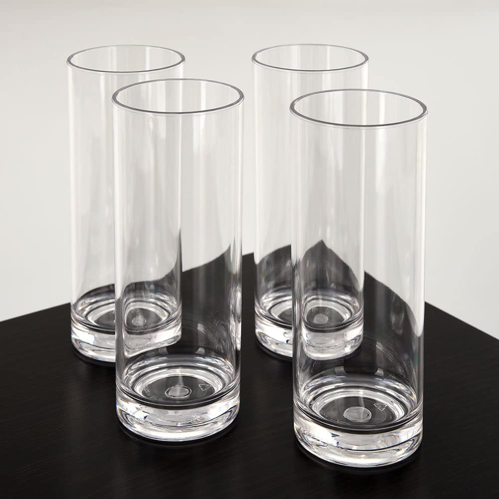 CITYPOINT 4 pcs, 12 OZ Crystal Clear Plastic Straight Cup, Restaurant Water Tumbler Beverage Cups Bar Beer Cup, Break-Resistant Plastic Cup