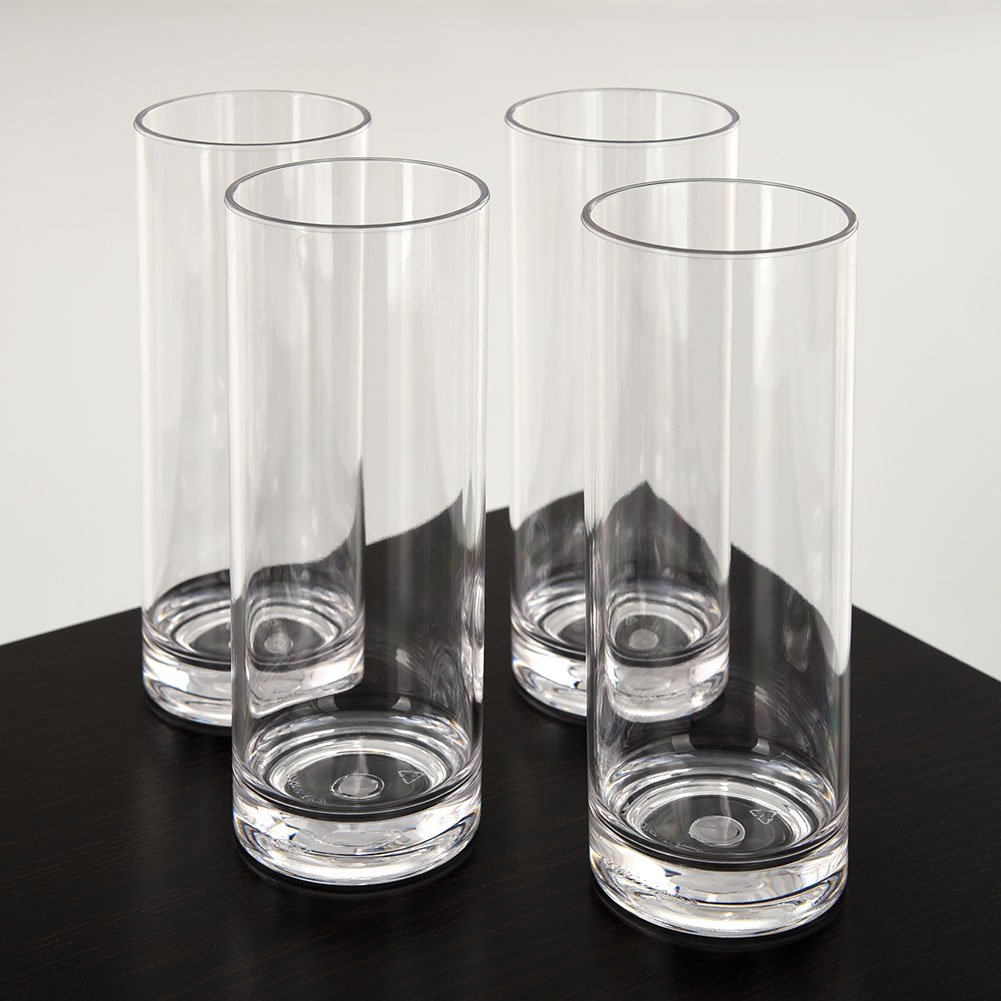 CITYPOINT 4 pcs, 12 OZ Crystal Clear Plastic Straight Cup, Restaurant Water Tumbler Beverage Cups Bar Beer Cup, Break-Resistant Plastic Cup by CITYPOINT (Image #1)