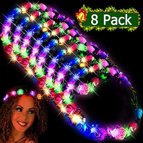 Party Accessories For Adults (LED Flower Headbands Crowns for Girls and Women Handmade Floral Wreath 10 LED Light Up Flowers Head Wreath Accessories Party Supplies Wedding Concert Holiday Party Pack Birthday Gift 8)
