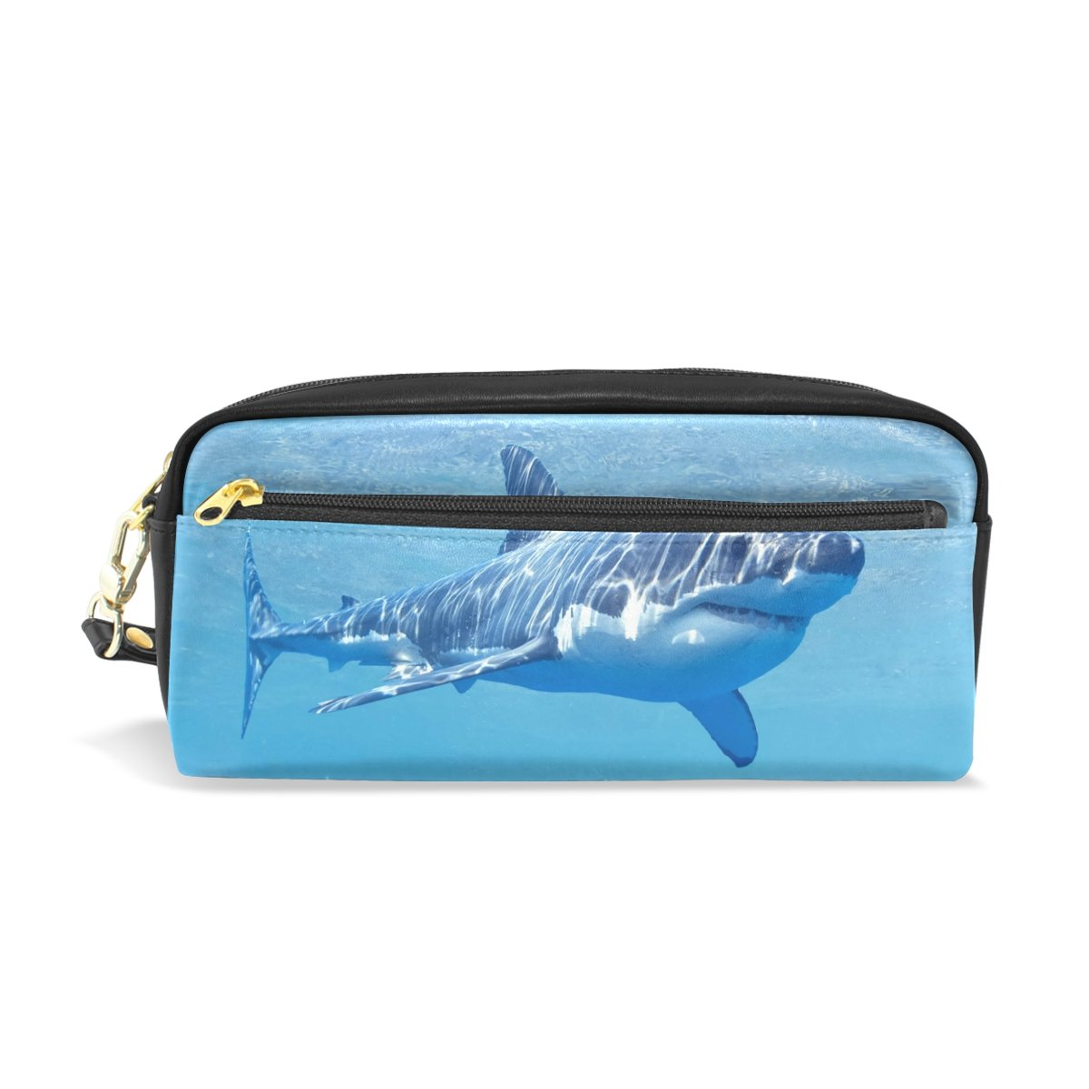 MRMIAN PU Leather Ocean Sea Animal Shark Pen Pencil Case Bag Purse Pouch Cosmetic Bag Zipper for School Boy Girl Office Work