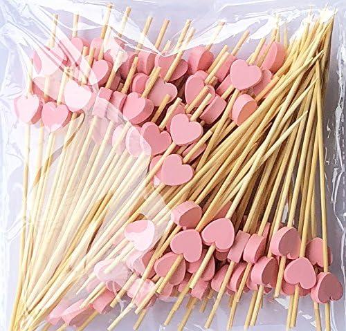 Lming Cocktail-Sticks 100 zählt Holz zahnstocher Partei liefert Krause Finger Essen früchte Sandwich knabber - rosa Herzen