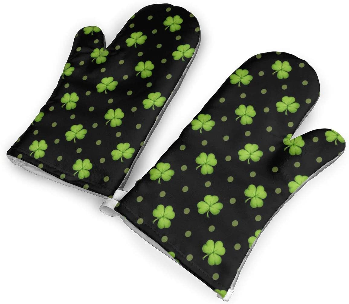 Victoria-Ai St. Patrick's Day Lucky Shamrocks Black Oven Mitts Premium Heat Resistant Kitchen Gloves Non-Slip Easy to Use Baking Mittens for BBQ/Cooking/Grilling