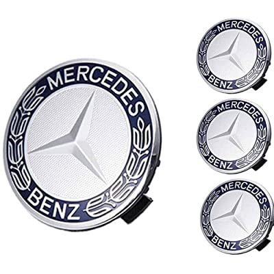 Mercede Benz Mercedes Set of 4 Dark Blue Center Wheel HUB CAPS 75 MM Cover Chrome Emblem: Automotive