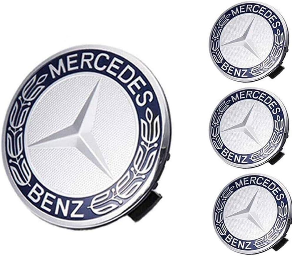 Mercede Benz Mercedes Set of 4 Dark Blue Center Wheel HUB CAPS 75 MM Cover Chrome Emblem
