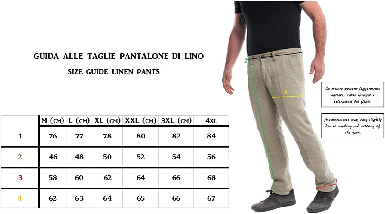 Puro Lino Pantalone Lungo da Uomo 46 alla 56 Blu Bianco Beige