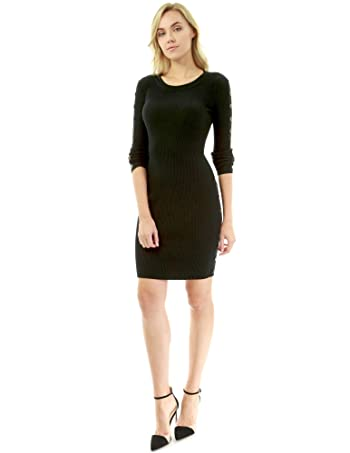 Women Button Embellished Ribbed Sweater Dress