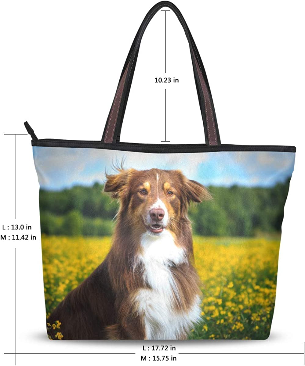 My Daily Women Tote Shoulder Bag Beautiful Dog Flower Fields Handbag