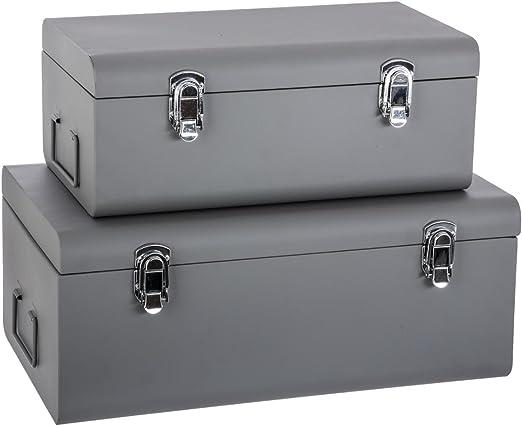 Atmosphera Set De 2 Coffres Malles De Rangement En Metal Esprit Cantine Coloris Gris Amazon Fr Cuisine Maison