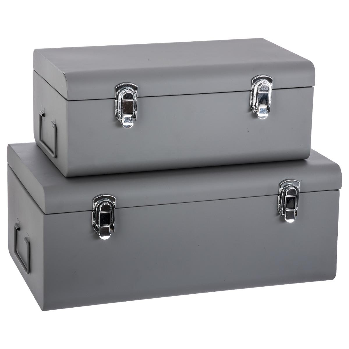 Atmosphera Set of 2 metal storage chests - Trunk design - Colour GREY