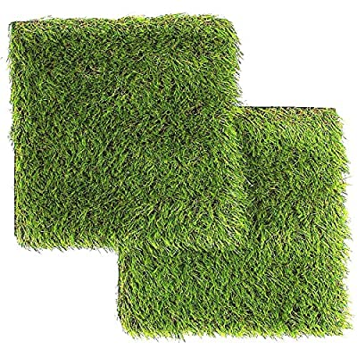 LULIND - Artificial Grass Square Tiles - 12.2 x 12.2 Inch Small Green Turf Rug