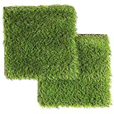 LULIND – Artificial Grass Square Tiles – 12.2 x 12.2 Inch Small Green Turf Rug (2 Pack) For Sale