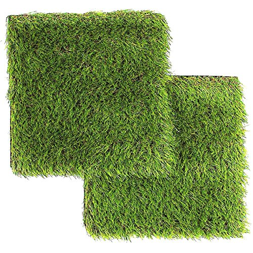 LULIND - Artificial Grass Square Tiles - 12.2 x 12.2 Inch Small Green Turf Rug (2 Pack) -