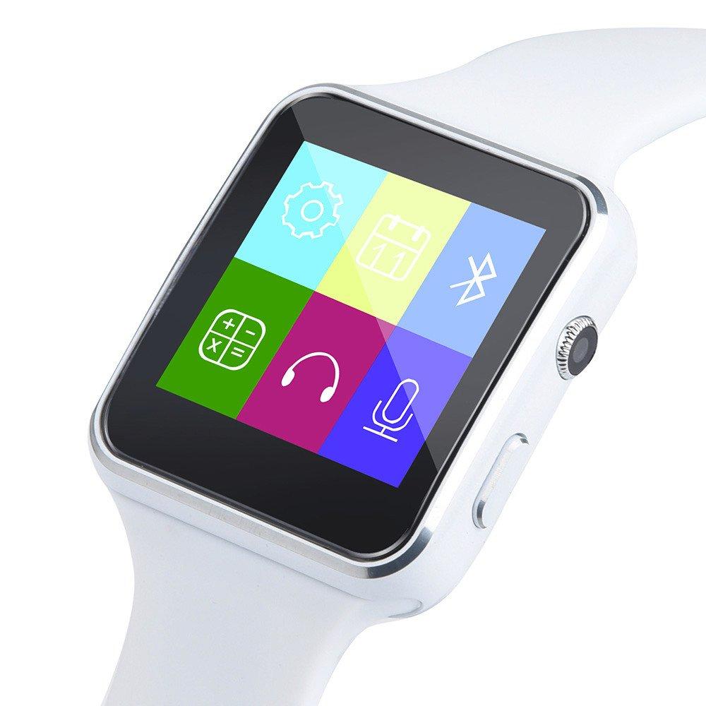 JiaMeng Reloj Inteligente, X6 BT3.0 gsm SIM Phone Mate para el teléfono Inteligente iOS Android(Blanco): Amazon.es: Ropa y accesorios
