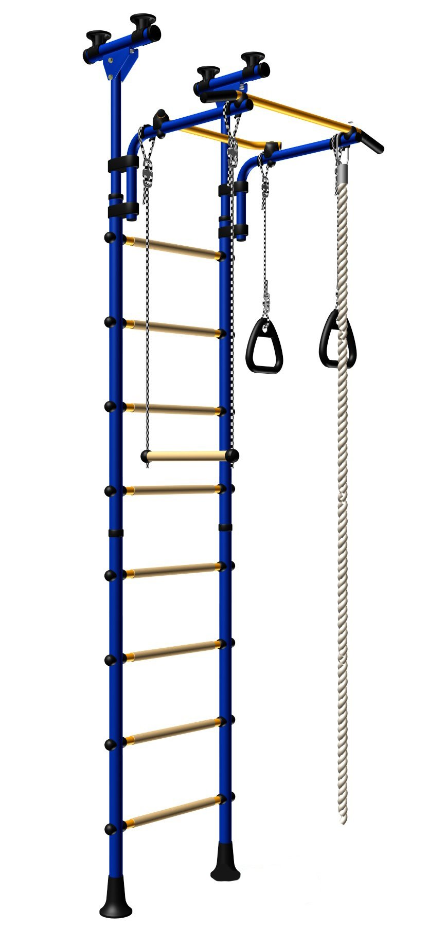 Kids Playground For the Floor - Ceiling / Indoor Gym Training Sport Set with Trapeze Bar Swing, Climber, Climbing Jump Rope, Gymnastic Rings / Suit for Backyard, School and Playroom / Comet 5 (Blue)