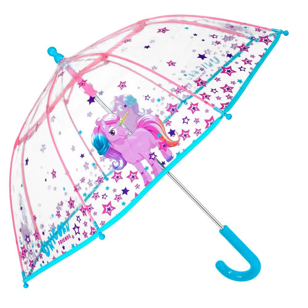 Parapluie Licorne Fille - Parapluie Transparent Cloche Enfant - Solide, Antivent et Long - Ouverture de securité - 3/6 Ans - Diamètre 64 cm - Perletti Cool Kids 15548