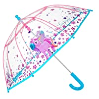 PERLETTI Unicorn Kids Umbrella - Bubble Stick Umbrella for Girls - Windproof and Resistant Dome Brolly - Safety Opening - 3 to 6 Years - Transparent - Diameter 64 cm Cool Kids