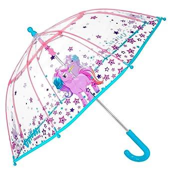 Paraguas Transparente Unicornio Niña - Paraguas Infantil de Burbuja Cupula de Colores con Estrellas Resistente Antiviento - Apertura Manual de ...