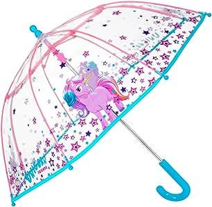 PERLETTI Paraguas Transparente Unicornio Niña - Paraguas Infantil de Burbuja Cupula de Colores con Estrellas Resistente Antiviento - Apertura Manual de Seguridad -3/6 Años - 64 cm Diámetro