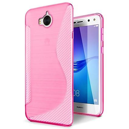 SLEO Funda para Huawei Y6 2017 / Huawei Y5 2017 Slim Fit TPU Carcasa de Parachoques Case Traslúcido para Huawei Y6 2017 / Huawei Y5 2017 - Rosa