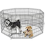 Paws & Pals Dog Exercise Pen Pet Playpens for Dogs - Puppy Playpen Outdoor Back or Front Yard Fence Cage Fencing Doggie Rabbit Cats Playpens Outside Fences with Door - Metal Wire 8-Panel Foldable 10
