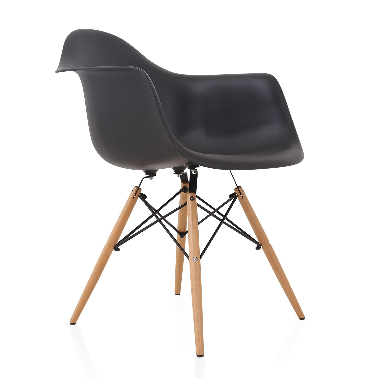 DAW Nordic Black Molded Plastic Dining Arm Chair with Beech Wood Eiffel Legs