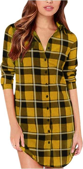 ZANZEA Camisa Mujer Blusa Camisa Cuadros Larga Camiseta Mujeres Top V Camisa Elegante Túnica Oficina Algodón Botones Mangas Largas para Mujer: Amazon.es: Ropa y accesorios
