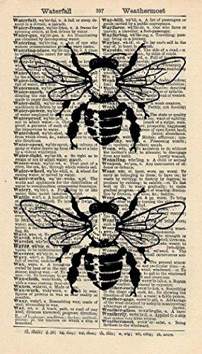 BEES ART PRINT - ARTWORK - ANIMAL ART PRINT - INSECT ART PRINT - HONEY BEES - VINTAGE Art - Illustration - GIFT - Vintage Dictionary Art Print - Wall Hanging - Home Décor - Book Print 208B