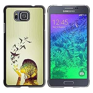 iKiki Tech / Estuche rígido - Spring Birds Woman Girl Relief - Samsung GALAXY ALPHA G850