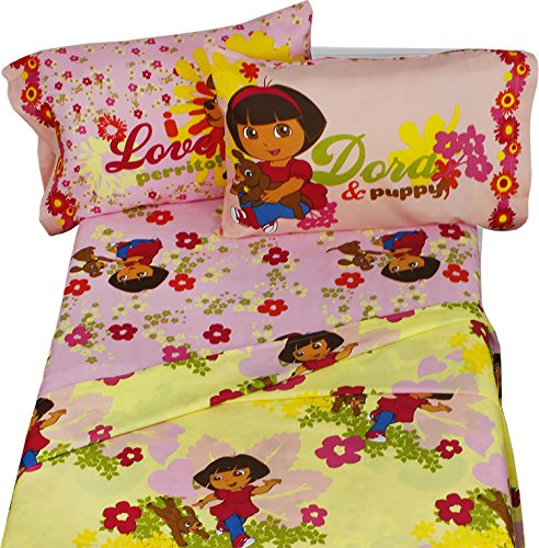 Dora Explorer Puppy Dog 4pc Full Bed Sheet Set