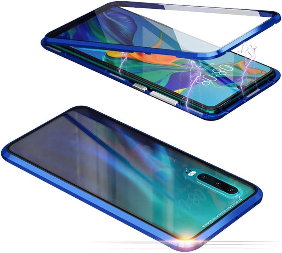 Jonwelsy Funda para Xiaomi Mi 9, Adsorción Magnética Parachoques de Metal con 360 Grados Protección Case Cover Transparente Ambos Lados Vidrio Templado Cubierta para Xiaomi Mi 9