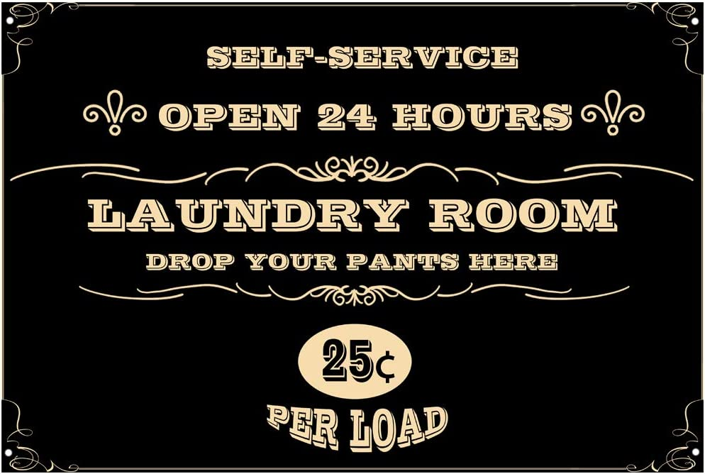 Original Retro Design Self-Service Laundry Room Tin Metal Wall Art Signs, Thick Tinplate Wall Decoration Print Poster for Laundry Room (Laundry Room A, 8x12 Inches (20x30 cm))