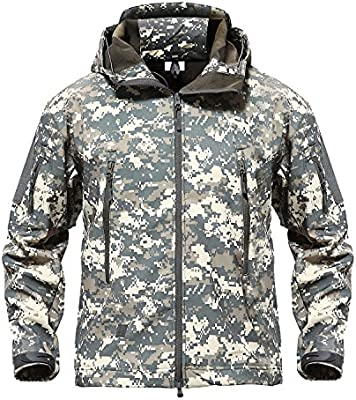 9acc78a06beeb TACVASEN Men s Outdoor Camo Softshell Hooded Tactical Fleece Jacket Coat  ACU ...