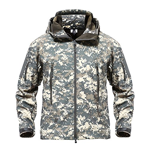TACVASEN Men's Outdoor Camo Softshell Hooded Tactical Fleece Jacket Coat ACU,US ()