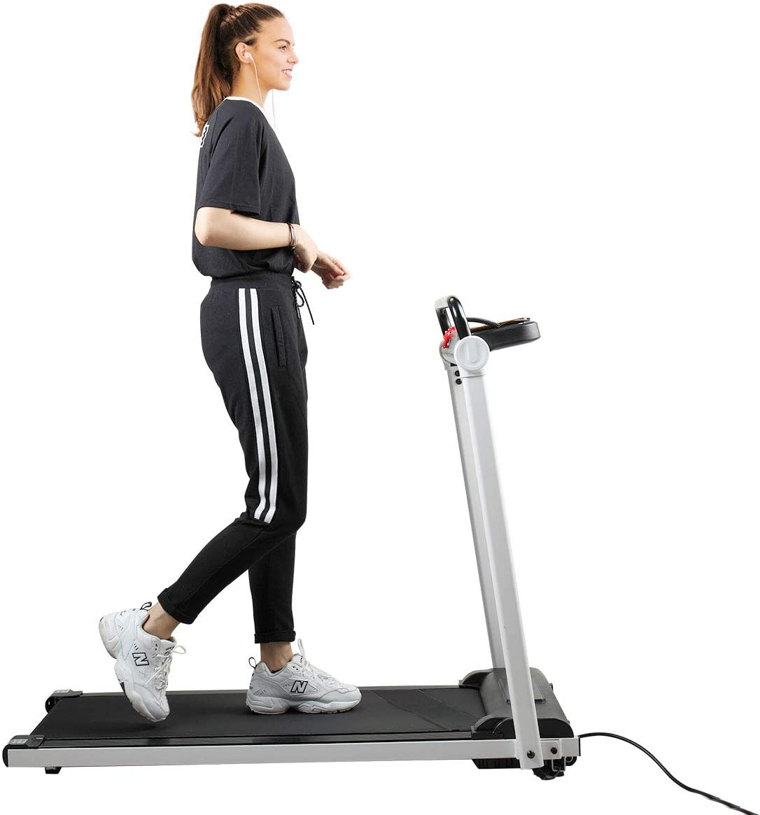 JAXPETY Electric Folding Treadmill 2HP Fitness Motorized Running Jogging Machine Perfect for Home Office Gym with Large LED Display, 12 Preset Programs, Black