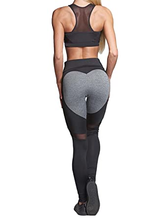 c9419148a5441 Women's Heart-Shaped Fitness Leggings Yoga Pants Hot! Workout Ankle-Length  Stretch Sportwear