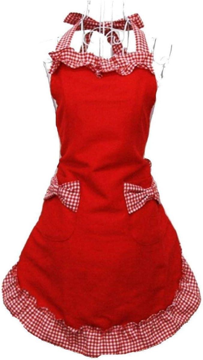 Ogquaton Coton Durable Tablier Princesse Style Design Tablier v/êtements Protecteur avec Poche pour la Cuisine Utilisation de la Cuisine 1PCS Noir