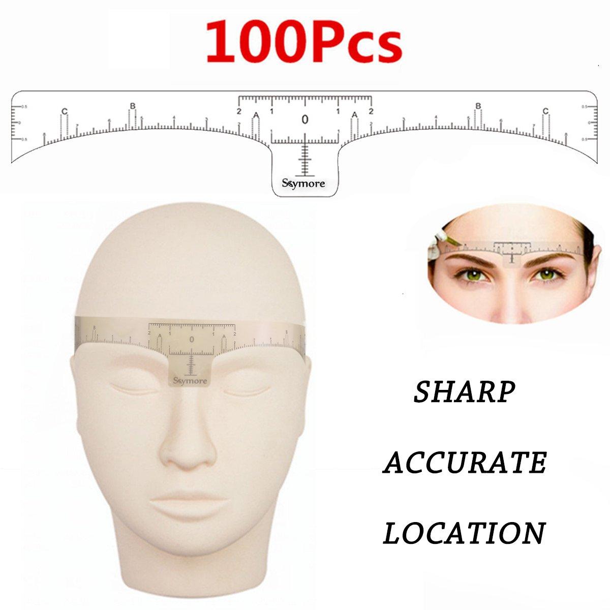 SKYMORE Eyebrow Ruler,100Pcs microblading ruler,Disposable Eyebrow Ruler Sticker, eyebrow ruler for microblading supplies