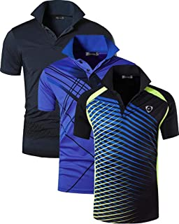 ffe236d07fa35 jeansian Men's 3 Packs Sport Quick Dry Short Sleeves POLO T-Shirt Tee