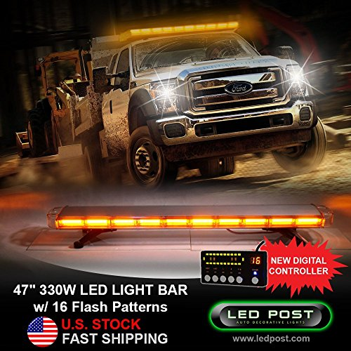 [해외]LED POST SL-BAR-COB207DS-AMBER 47 Amber 330W COB LED Emergency SIG Alert Hazard Warning Security Strobe Light Bar with Digital Controller (Rooftop) / LED POST SL-BAR-COB207DS-AMBER 47 Amber 330W COB LED Emergency SIG Alert Hazard W...