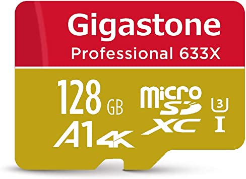 Gigastone 128GB Micro SD Card, Professional 4K Ultra HD, High speed 4K UHD gaming, Micro SDXC UHS-I U3 C10 Class 10 Memory Card with Adapter