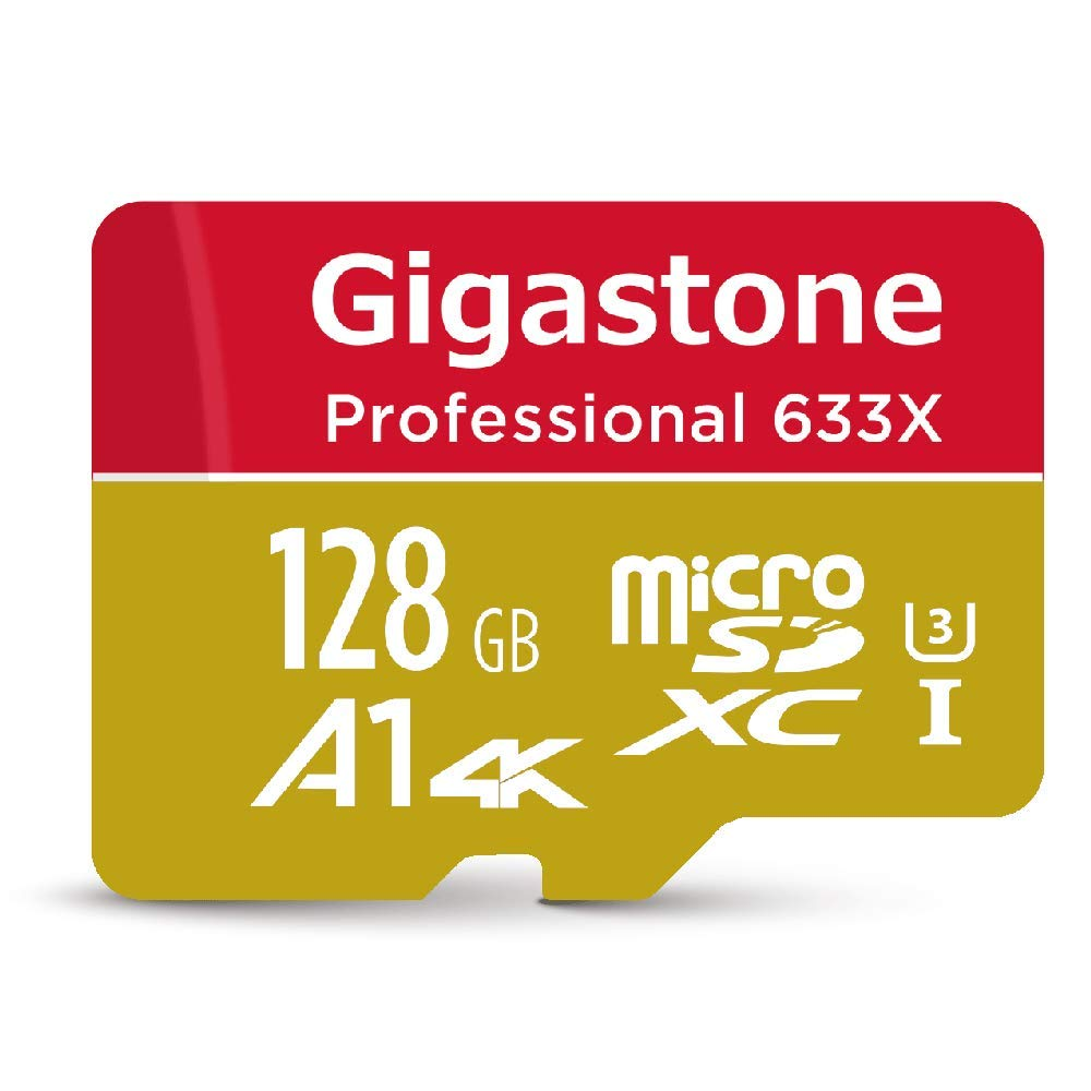 Gigastone 128GB Micro SD Card MicroSD U3 UHS-I C10, UHD 4K Video Recording, 4K Gaming, Read/Write 95/40 MB/s, with MicroSD to SD Adapter, Nintendo Dashcam Gopro Canon Nikon Camera Samsung Drone by Gigastone