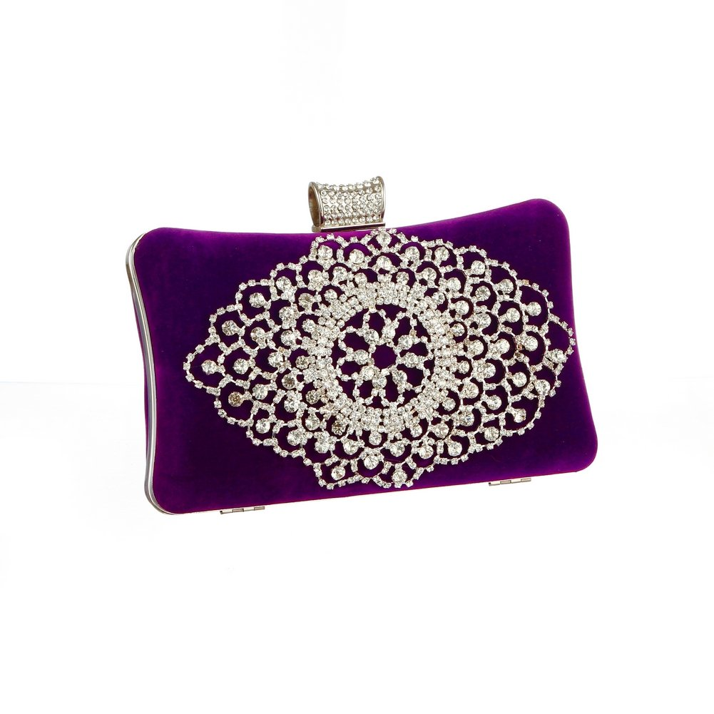 Damara Womens Elegance Rhinestones Evening Bag Velvet Clutch Purse,Purple by Damara