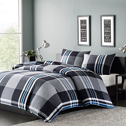 Boys Ink - Ink+Ivy Nathan Full/Queen Comforter Set Teen Boy Bedding - Grey, Plaid - 3 Piece Bed Sets - 100% Cotton Yarn Bed Comforter