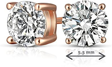 14k Rose Gold Plated 3-Prong Basket Round Cubic Zirconia Stud Earrings 0.33 ct