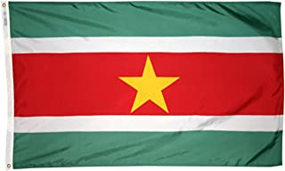 product image for Annin Flagmakers Model 197875 Suriname Flag 3x5 ft. Nylon SolarGuard Nyl-Glo 100% Made in USA to Official United Nations Design Specifications.