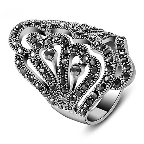 (Yfnfxl Vintage Fashion Ring Silver Marcasite Flower Crystal Cocktail Statement Rings for Women (Silver4, 8))